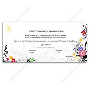 """invitación de boda """"Color Music"""""""