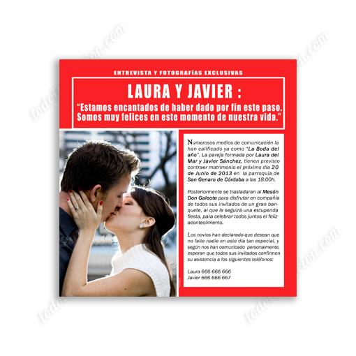 Tu Invitación De Boda Portada De Revista Invitaciones Y Detalles