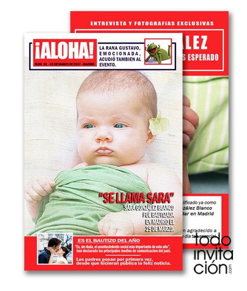 invitación de original bautizo portada de revista periódico