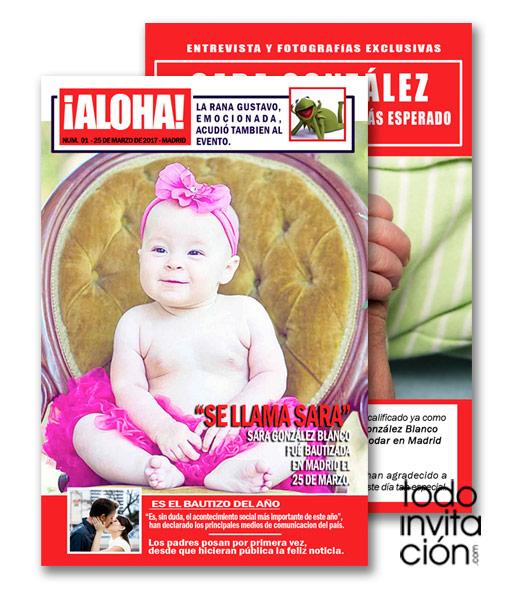 Invitación de original bautizo portada de revista, periódico
