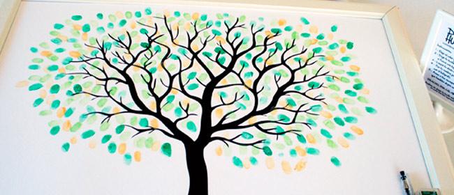 Cuadros de firmas con huellas en tu boda, bautizo o comunión (árbol de huellas)