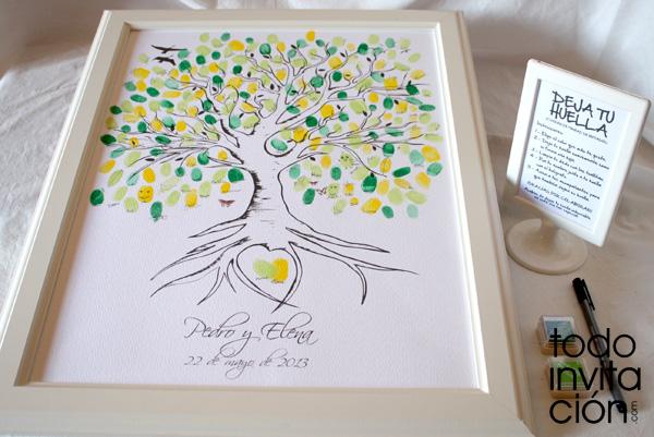 Cuadros de firmas con huellas en tu boda o celebración (árbol de ...