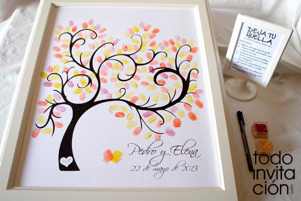 Cuadros de firmas con huellas en tu boda, bautizo o comunión (árbol ...