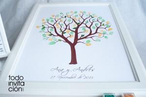 cuadro de huellas para bodas arbol huellas