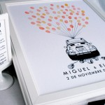 cuadro de huellas para bodas coche