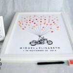cuadros de huellas para bodas moto