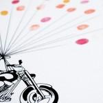 cuadro de huellas para bodas moto
