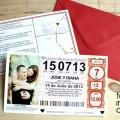 invitacion de boda billete de loteria