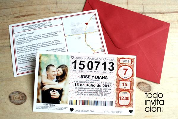 """Invitación de boda """"Billete de Lotería"""": Nos ha tocado el gordo"""