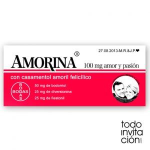 """invitación de boda medicamento """"Amorina"""""""
