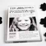 Recordatorio invitacion de comunion original portada de periódico