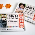Recordatorio invitacion de comunion original billete décimo de lotería