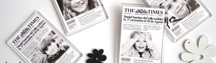 Recordatorio de comunión imán portada de periódico