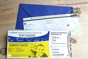 invitacion de boda original billete de avion