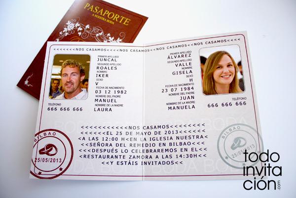 Invitación De Boda Pasaporte Muy Viajera Invitaciones Y