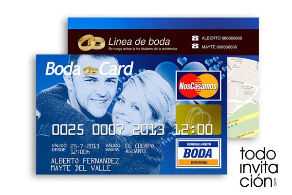 invitación de boda original tarjeta de crédito