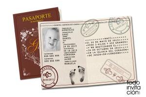 recordatorio invitación de bautizo pasaporte