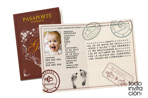 Invitación De Bautizo Original Pasaporte Invitaciones Y