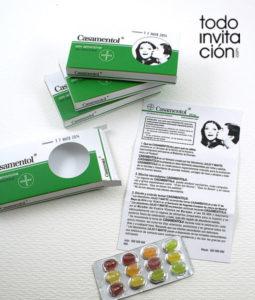 invitación de boda caja de medicamento