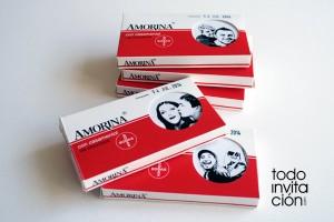 invitacion de boda caja de medicamento amorina