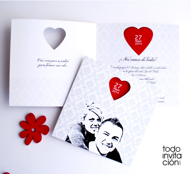 Invitacion original corazón Rojo