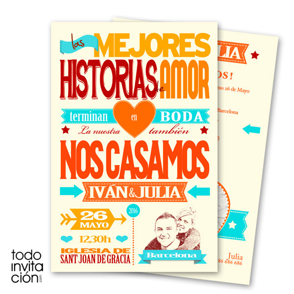 invitacion de boda original hot letters