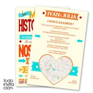 invitacion de boda original hot letters