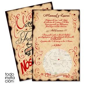 invitacion original de boda retro letters