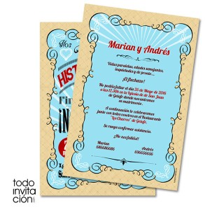 invitacion original de boda letters