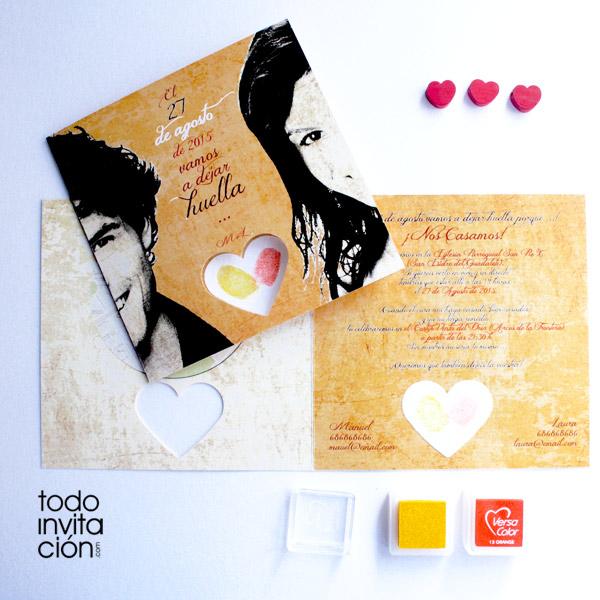 invitacion de boda con huellas dactilares