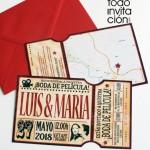 invitacion de boda entrada de cine vintage