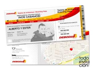 invitacion tarjeta de embarque avion