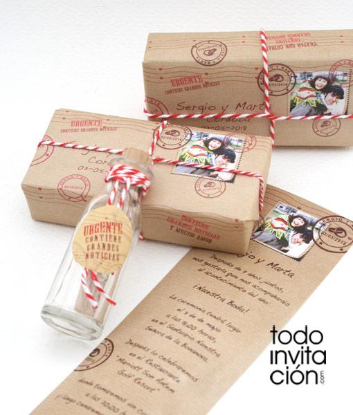 Invitación única de boda MENSAJE EN UNA BOTELLA