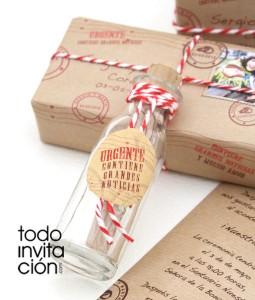 invitacion de boda mensaje en una botella original y diferente