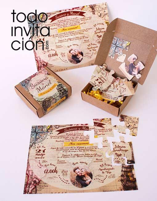 invitacion de boda mapa puzzle