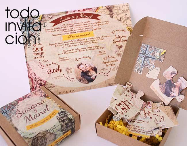 invitacion de boda puzzle original y divertida