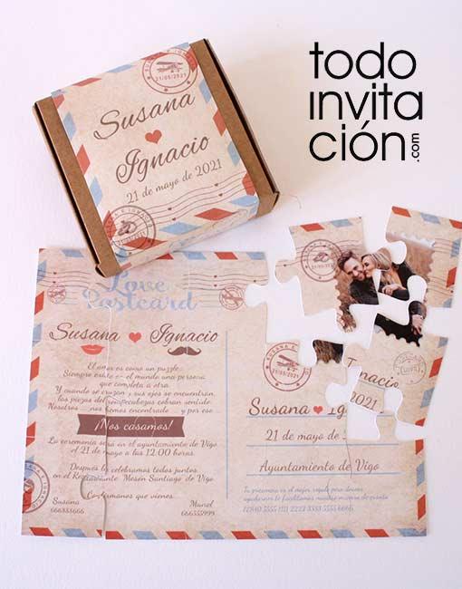 invitacion de boda caja con puzzle