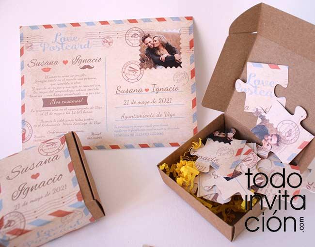 invitacion para bodas postal tipo puzzle