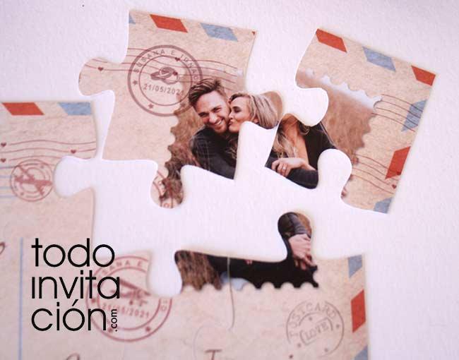 invitacion puzzle para bodas