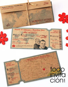 invitación billete de avion kraft
