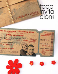 invitación de boda billete de avion