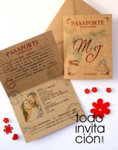 invitación pasaporte a tu boda