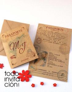 tarjeta pasaporte de boda