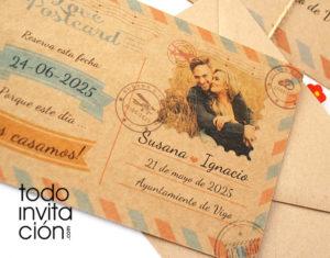 invitación postal romántica