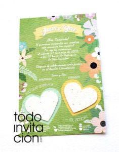 invitaciones plantables de semillas