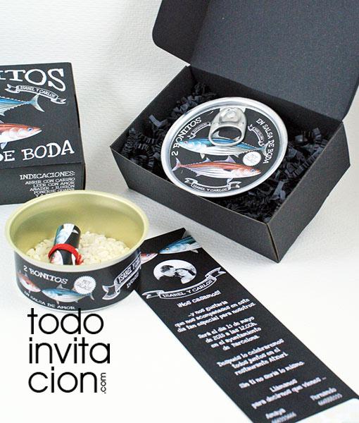 invitacion de boda original lata