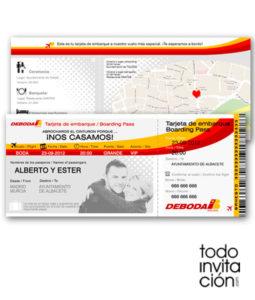 invitacion tarjeta embarque bilete avion