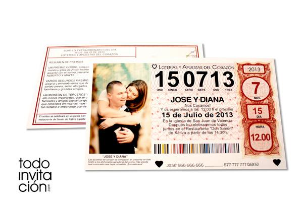 invitacion diferente y divertida loteria