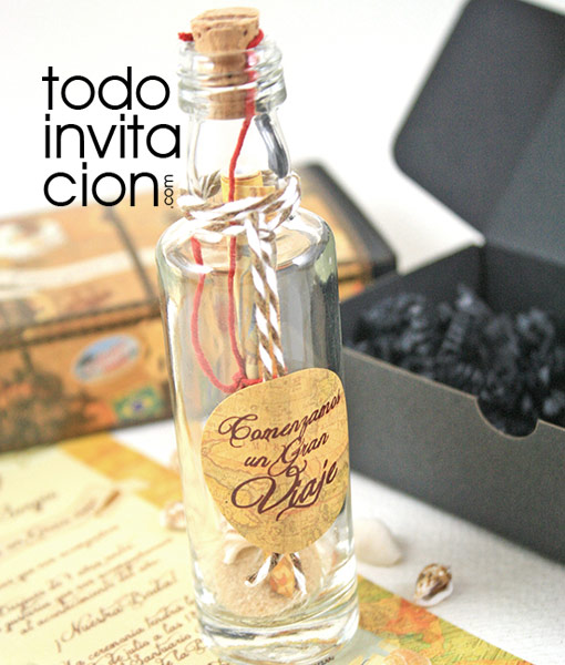 invitacion de boda diferente botella mensaje