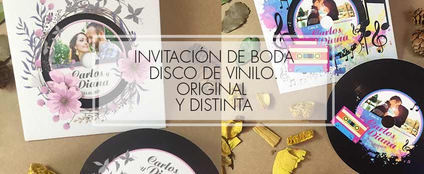 invitación disco de vinilo